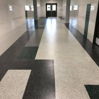 Key Diamond Chip Resin With Graphic Design Tbi Concrete Flooring Llc