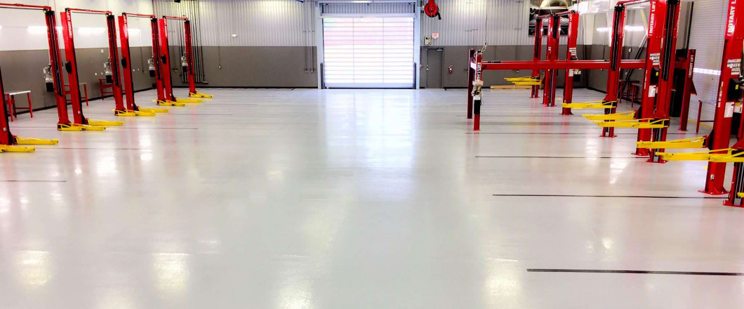 Epoxy floor coatings in automotive dealership